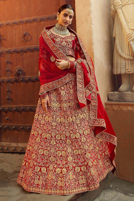 Ravishing Red Zari Embroidered Velvet Bridal Lehenga