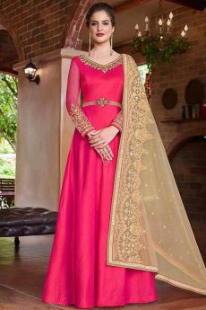 Shiny Pink Raw Silk Zari Embroidered Anarkali Suit