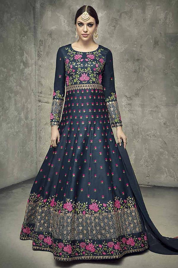 Navy Blue Silk Embroidered Anarkali Suit