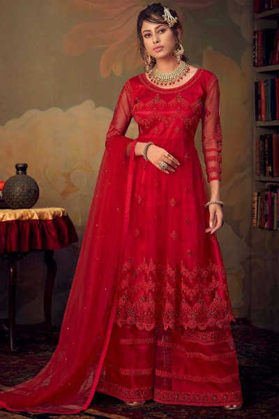 Beautiful Crimson Red Resham Embroidered Net Sharara Suit