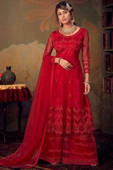 Beautiful Crimson Red Resham Embroidered Net Sharara Suit