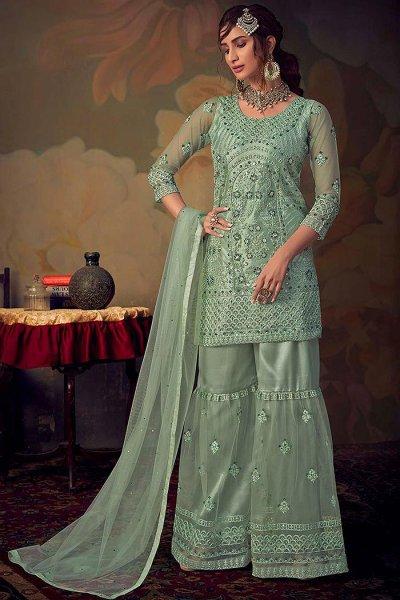 Gorgeous Mint Green Resham Embroidered Net Sharara