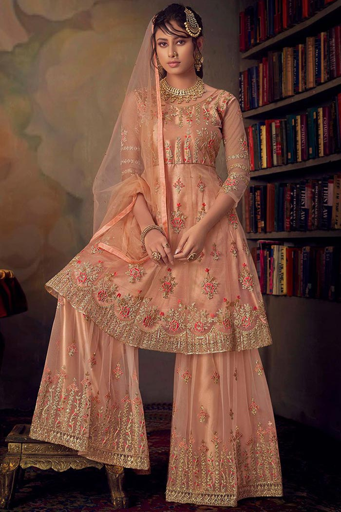 Light Peach Net Shrara Suit with Detailed Resham Embroidery
