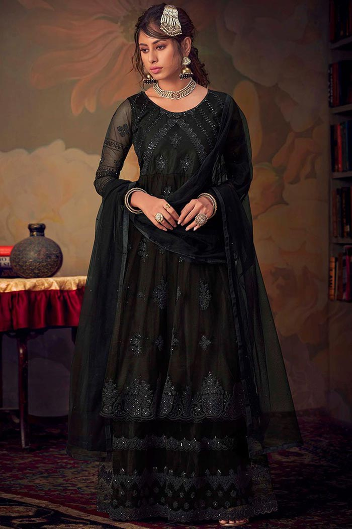 Designer Black Net Sharara Suit with Classic Resham Embroidery