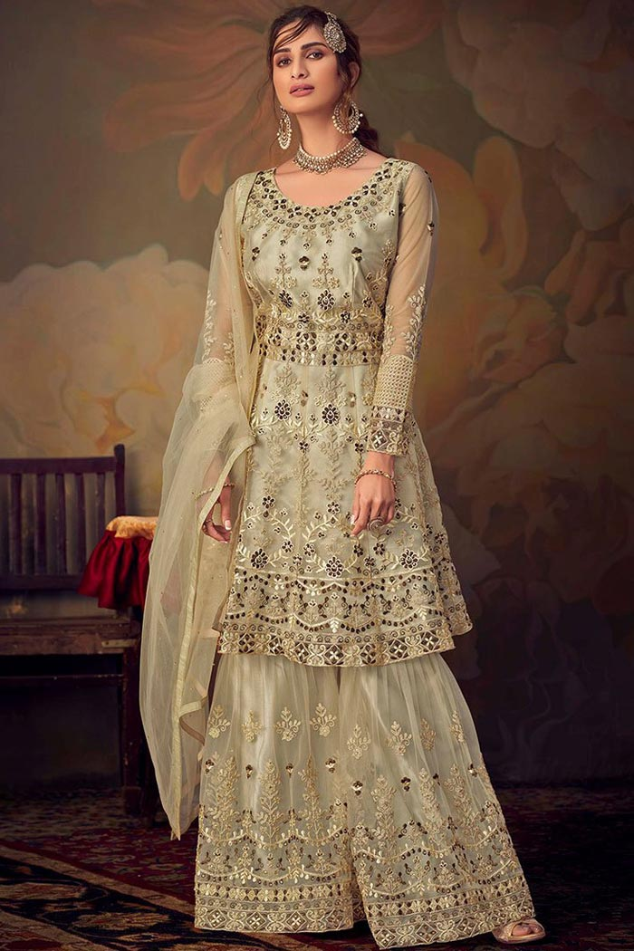 Pale Yellowish Green Resham Embroidered Sharara Suit in Net