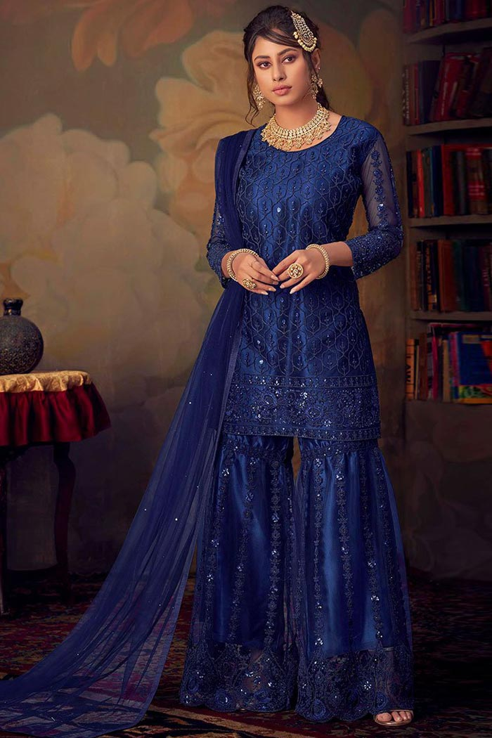 Sparkling Blue Delicate Resham Embroidered Sharara Suit