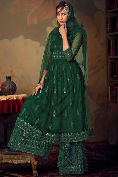 Bottle Green Resham Embroidered Indian Sharara Suit