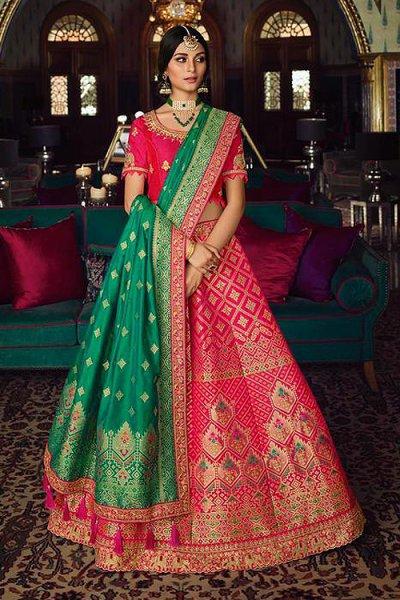 Stunning Pink and Sea Green Silk Lehenga with Beautiful Embroidery