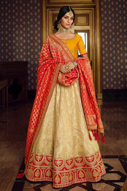 Off White and Mustard Silk Lehenga with Beautiful Embroidery