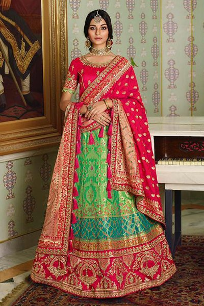 Pink and Green Silk Lehenga with Beautiful Embroidery