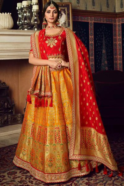 Mustard and Red Designer Silk Party Wear Lehenga