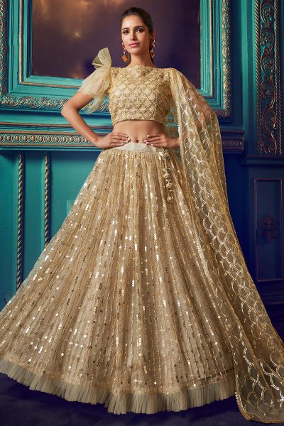 Dusky Beige Party Wear Lehenga with Beautiful Embroidery