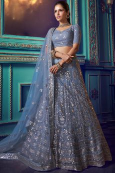 Steel Blue Party Wear Lehenga with Beautiful Resham and Sequin Work