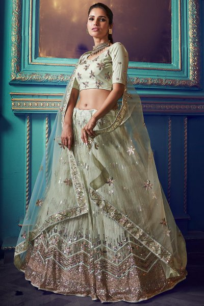 Pastel Green Sequin Embellished Party Wear Lehenga in Net