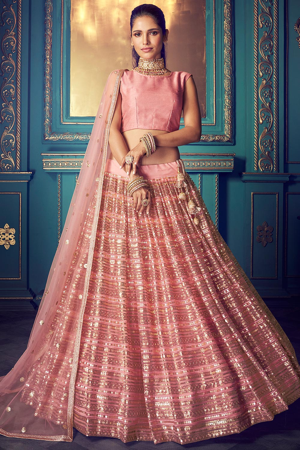 Pink Zari Embroidered Designer Indian Party Lehenga in Net