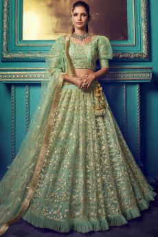 Light Green Party Wear Lehenga with Beautiful Sequin Wok