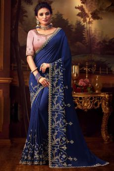 Stunning Blue Silk Saree with Intricate Zari Embroidery
