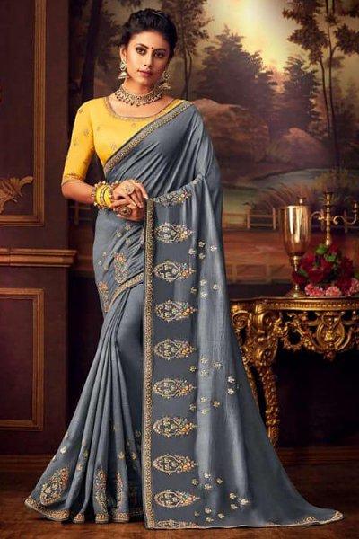 Light Metallic Grey Silk Saree with Zari Embroidery