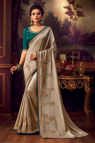 Stunning Taupe Silk Saree with Zari Deatiling