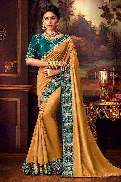 Designer Mustard Silk Saree with Charming Border