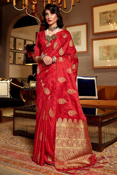 Stunning Silk Weaved Red Saree