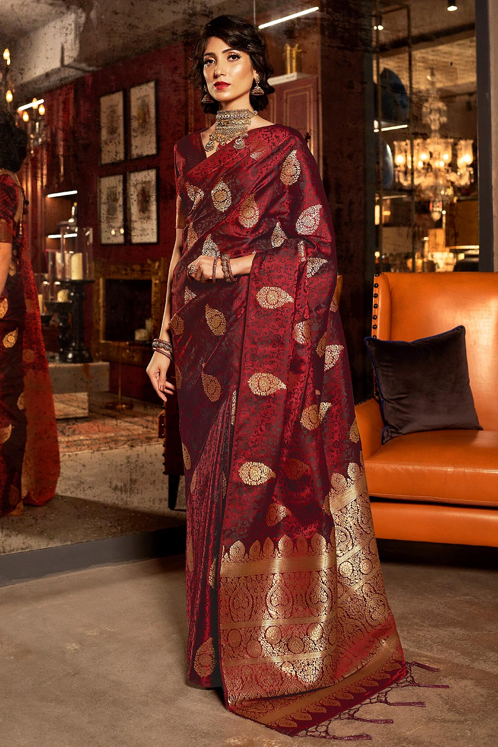 Stunning Silk Weaved Maroon Saree