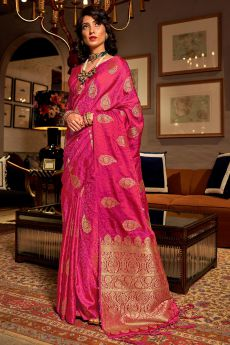 Stunning Silk Weaved Pink Saree