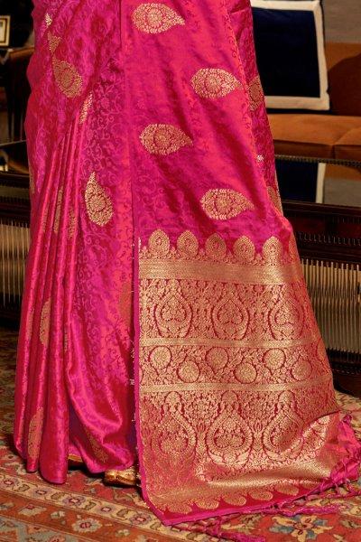 Stunning Silk Weaved Pink Saree