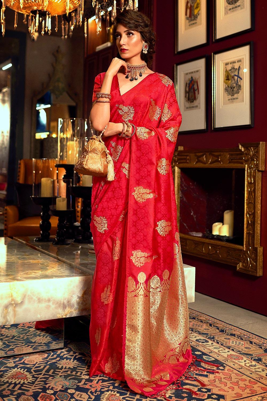 Stunning Silk Weaved Red Saree