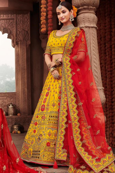 Gorgeous Yellow Zari Embroidered Designer Indian Lehenga