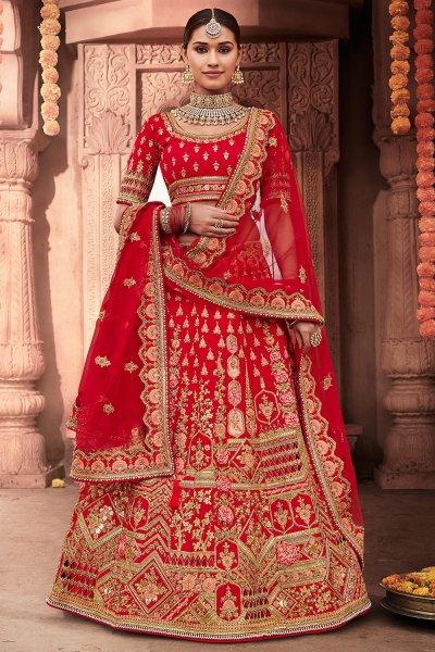 Ravishing Red Zari Embroidered Indian Designer Bridal Lehenga