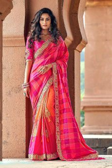 Stunning Pink and Orange Silk Saree
