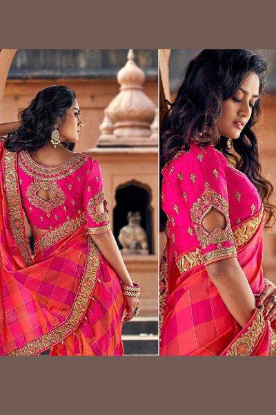 Stunning Pink and Orange Silk Saree