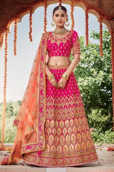 Hot Pink Silk Lehenga with Moti Detailing over Zari Work