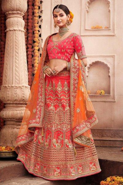 Bright Red Silk Wedding Lehenga with Delicate Zari Detailing