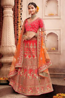 Bright Red Silk Wedding Lehenga with Delicate Zari Detailing