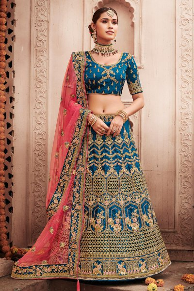 Teal Blue Zari Embroidered Silk Lehenga with Pink Net Dupatta