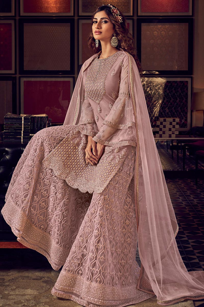 Dusky Pink Resham Embroidered Flared Net Palazzo Suit