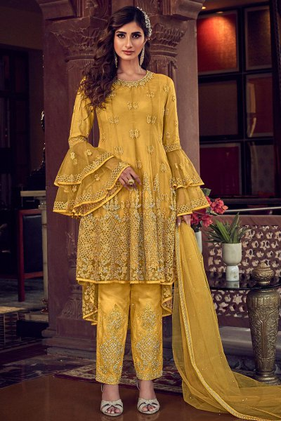 Bright Mustard Yellow Net Party Wear Salwar Kameez