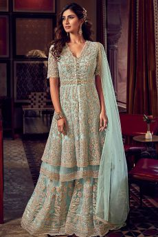 Light Mint Blue Zari Embroidered Peplum Sharara Suit