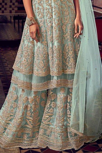 Light Mint Blue Zari Embroidered Peplum Sharara Suit