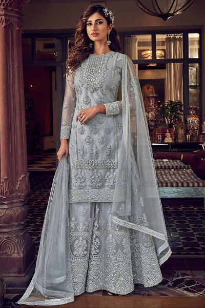Bluish Grey Resham Embroidered Net Flared Palazzo Suit