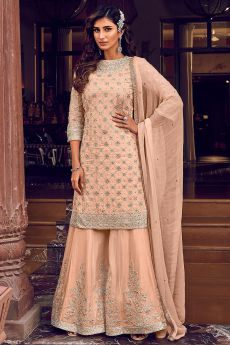 Peach Zari Embroidered Flared Georgette Palazzo Suit