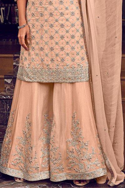 Peach Zari Embroidered Flared Georgette Palazzo Suit