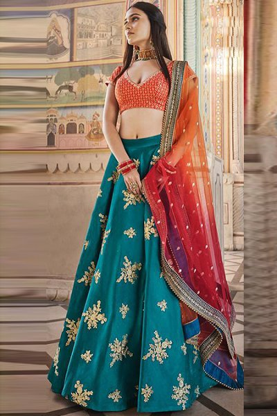 Peacock Blue Embroidered Silk Lehenga with Ombre Net Dupatta