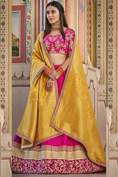 Pink Embroidered Handloom Silk Lehenga with Jacquard Silk Dupatta