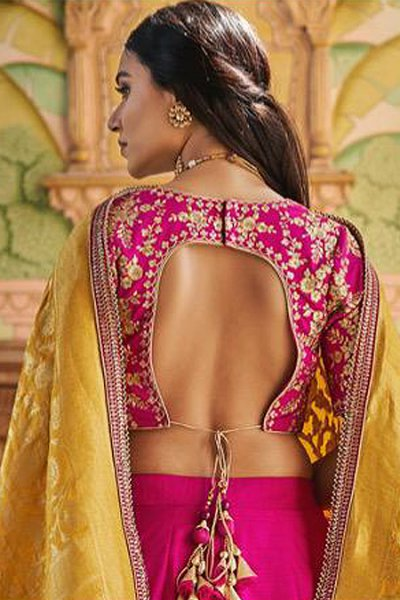 Pink Embroidered Handloom Silk Lehenga with Jacquard Silk Dupatta