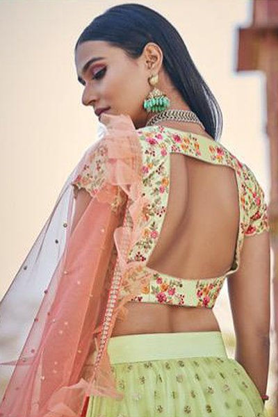 Light Green Tiered Net Lehenga with Resham Embroidered Blouse