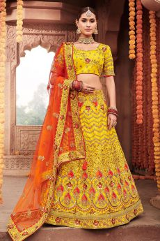 Bright Yellow and Orange Zari Embroidered Party Wear Silk Lehenga