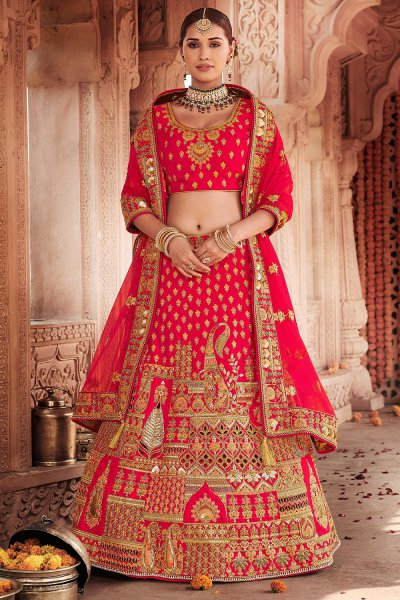 Red Zari Embroidered Bridal Lehenga in Silk